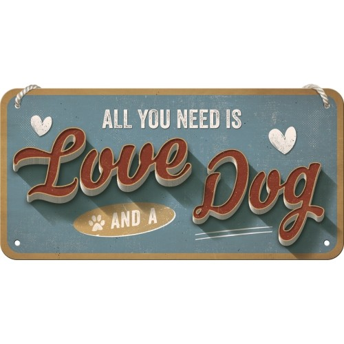 Vintage-Hängeschild: Love Dog