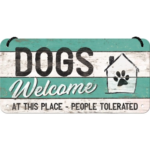 Vintage-Hängeschild: Dogs Welcome