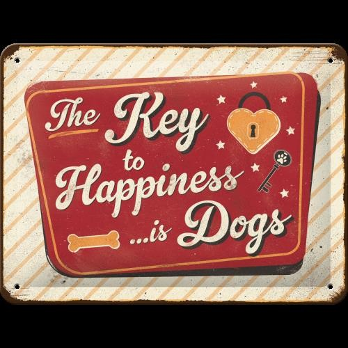 Vintage-Blechschild: Key To Happiness